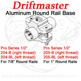 Driftmaster Pro 204-B, 204-BL, 205-B, and 205-BL Round Rail Clamp Base