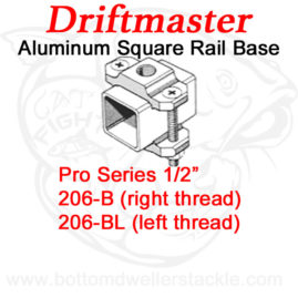 Driftmaster Pro Series Rod Holder Bases 206-B or 206-BL Square Rail Clamp
